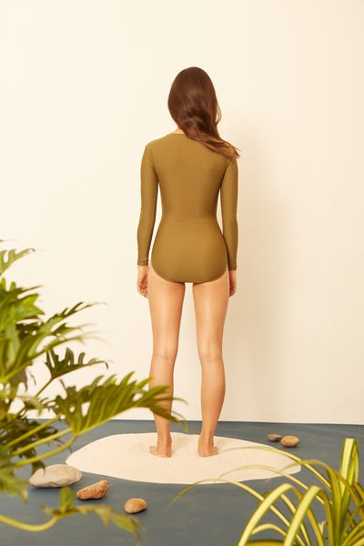 Moss Long-Sleeved One-piece