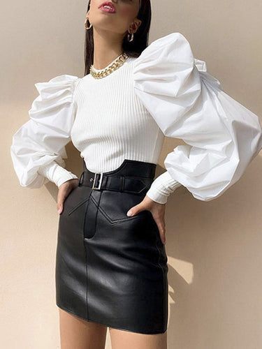 Round neck patchwork knitted blouse - Gloryset