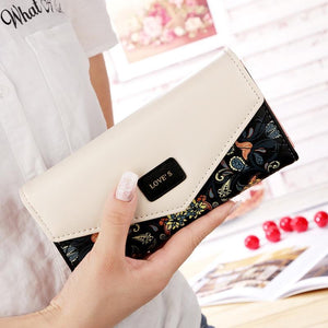 PU Leather Colorful Flowers Purse