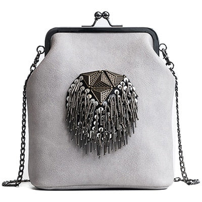 PU Leather Tassel Fashion Frame Bag - Gloryset