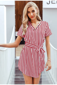 Elegant Striped Dress - Gloryset