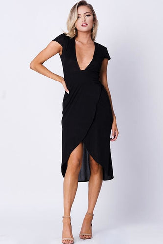 SURPLICE SOLID WRAP DRESS - Gloryset