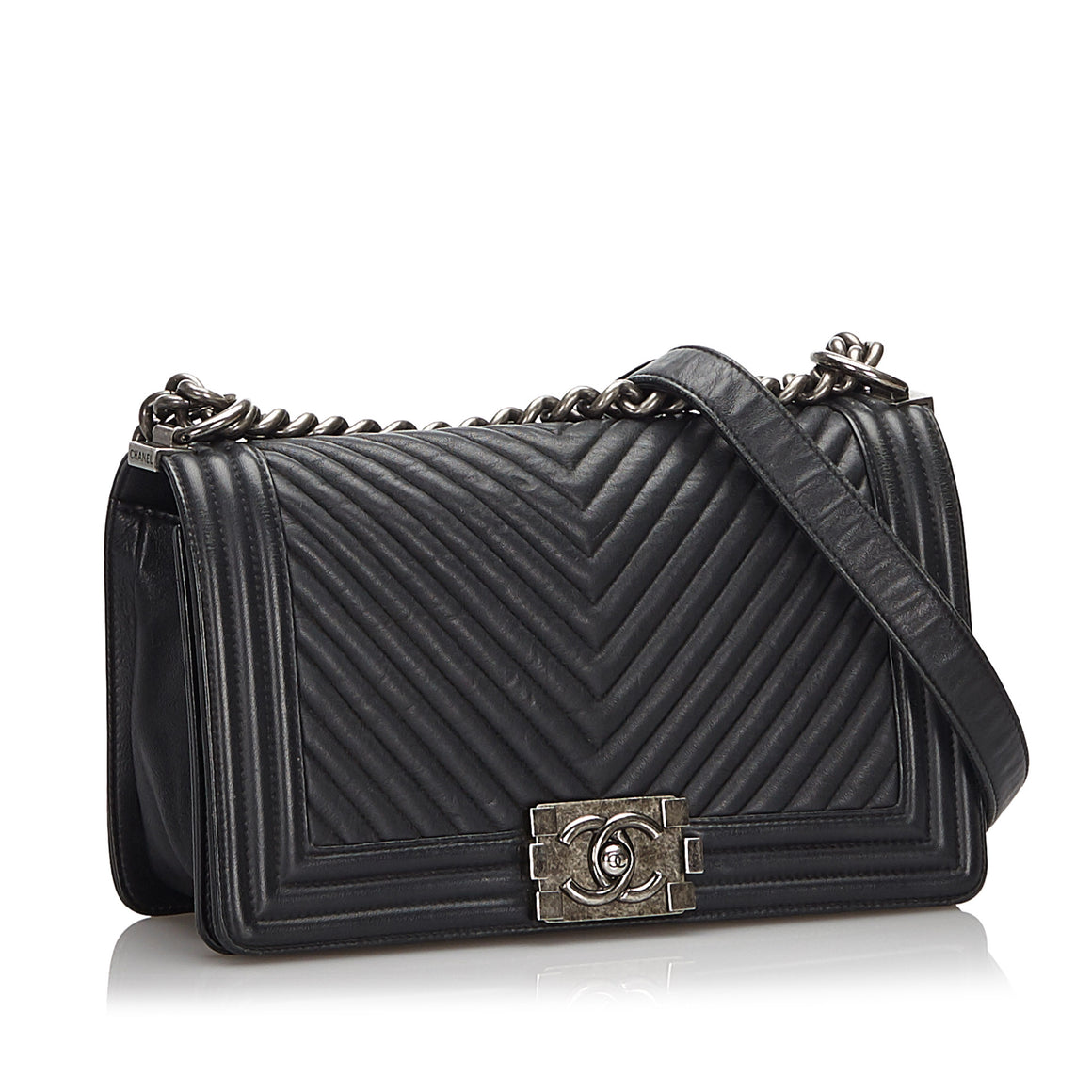 Chanel Chevron Leather Medium Boy Flap Bag