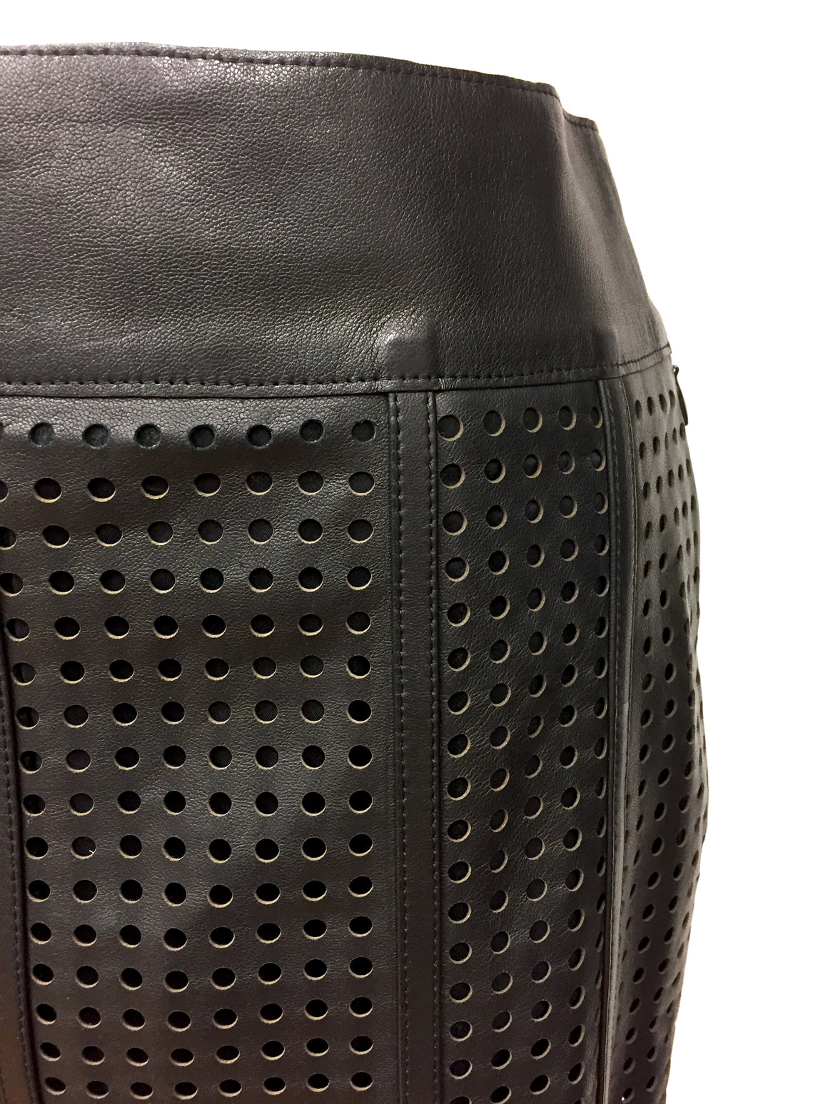 New TOM FORD Black Laser-Cut Leather Pencil Skirt Sz IT36/US 4