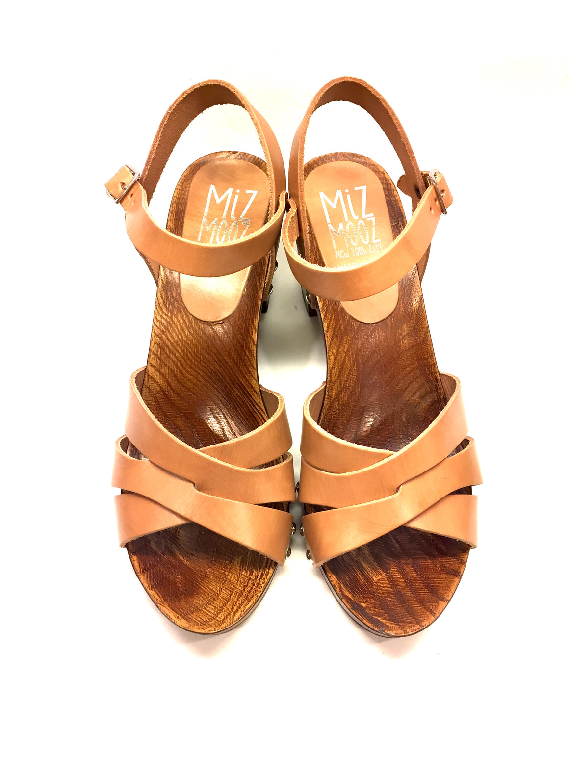 New MIZ MOOZ Tan Leather Wooden Platform & Heels Open-Toe Slingback Sandals Sz38