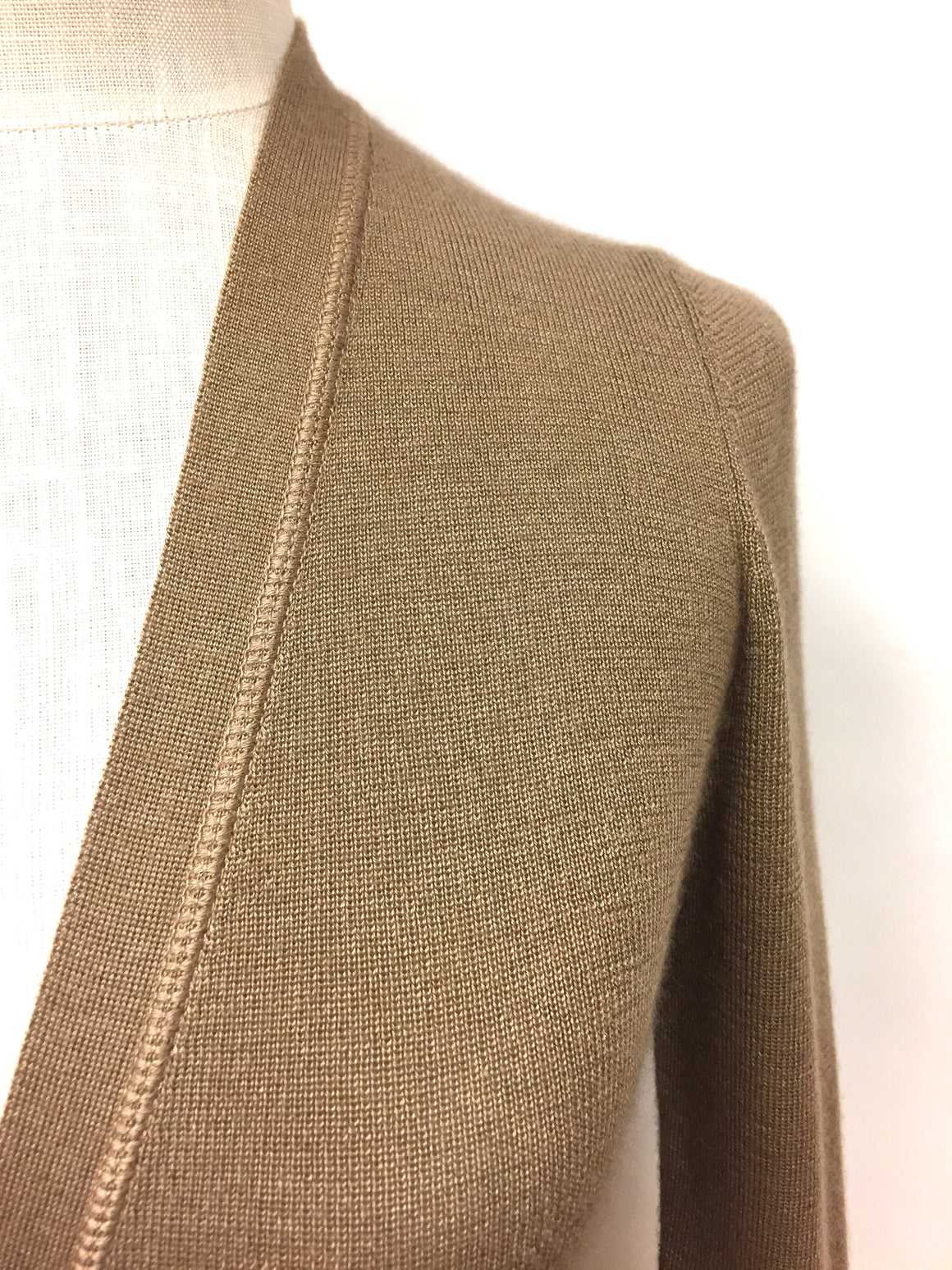 PRADA Tan Cashmere & Silk V-Neck Cardigan Sweater Size: M