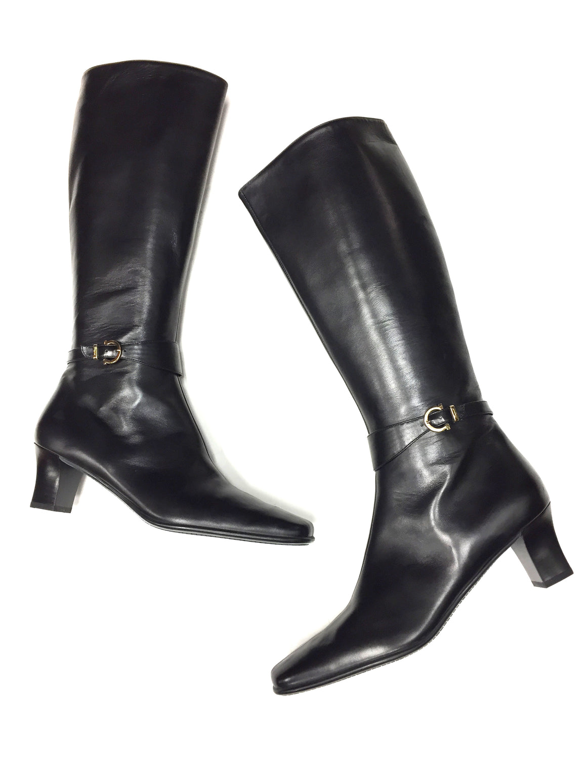 bisbiz.com FERRAGAMO Black Leather Gancini Buckle Accent Low-Heel Tall Boots Size: 9.5AA - Bis Luxury Resale