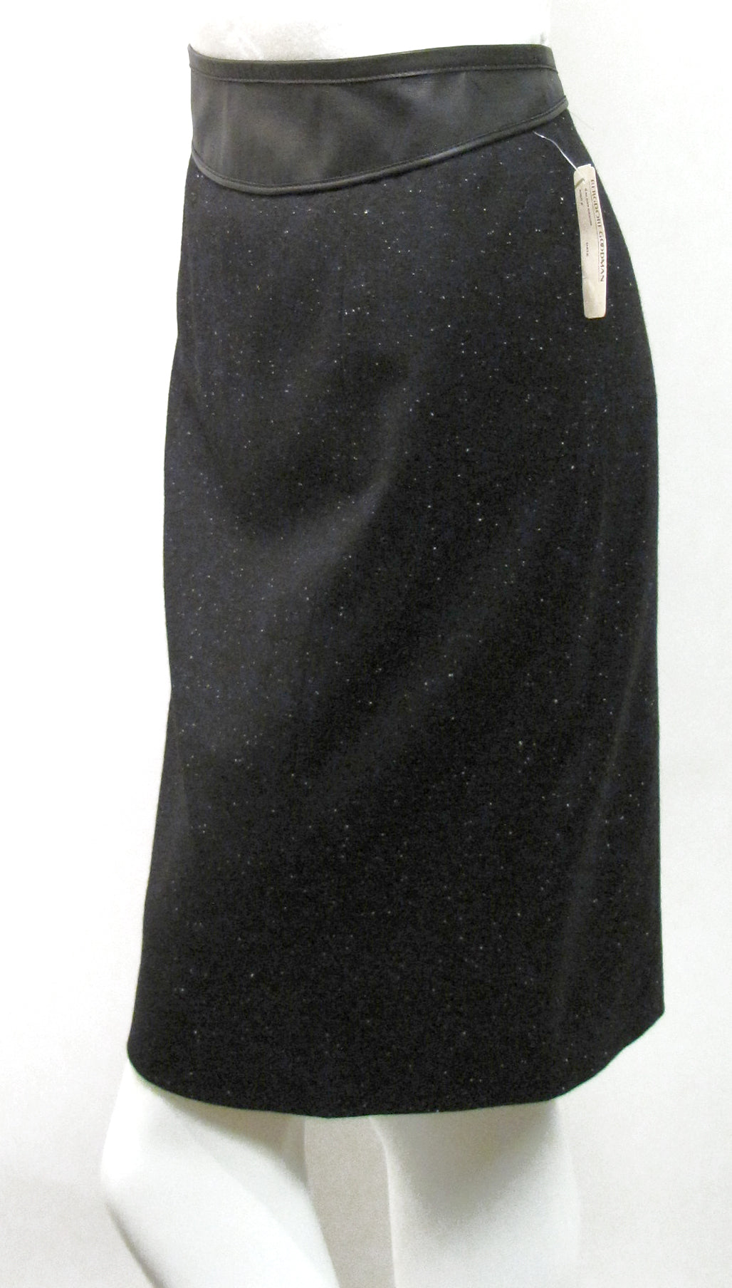 New NARCISO RODRIGUEZ Black Wool 2-Way Zipper Back Knee-Length Pencil skirt Sz44