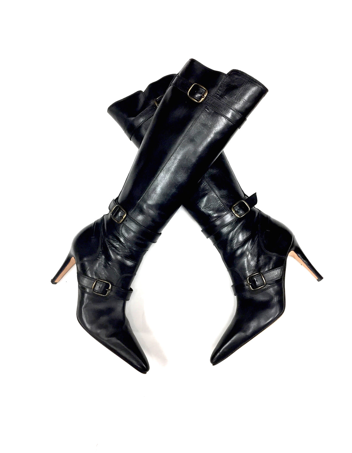 MANOLO BLAHNIK Black Leather Triple Buckled Strap Tall Hi-Heel Boots Size: 38.5