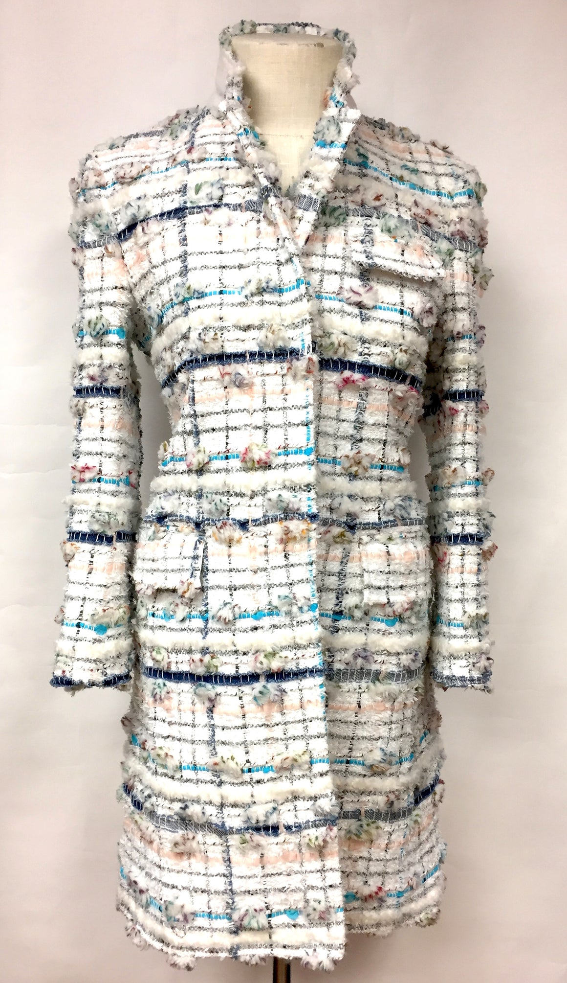 THOM BROWNE White/Multicolor Fantasy-Weave Shimmery Mixed Fibers Coat   Size: IT 40/ US 6