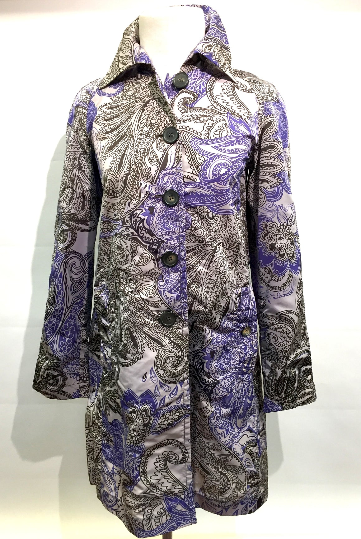 ETRO Beige Purple Brown Paisley-Print Nylon Rain Coat Sz IT38/US4
