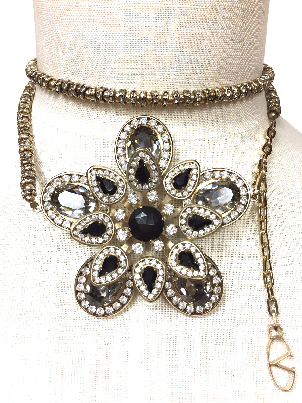 VALENTINO  Goldtone Crystal Roundels & Beads Statement Necklace/Belt with Large Jeweled Flower Center