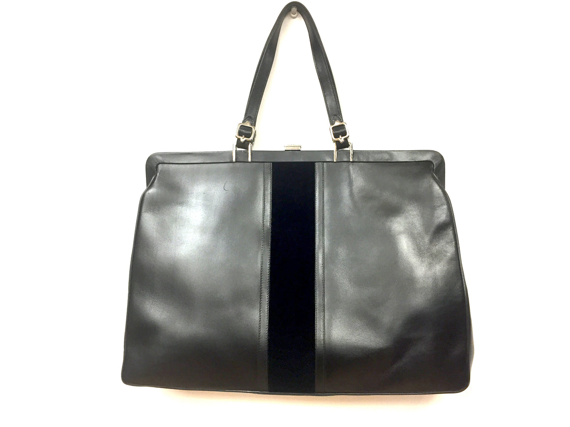 ROBERTA di CAMERINO Black Leather & Velvet Large Top-Frame Bag