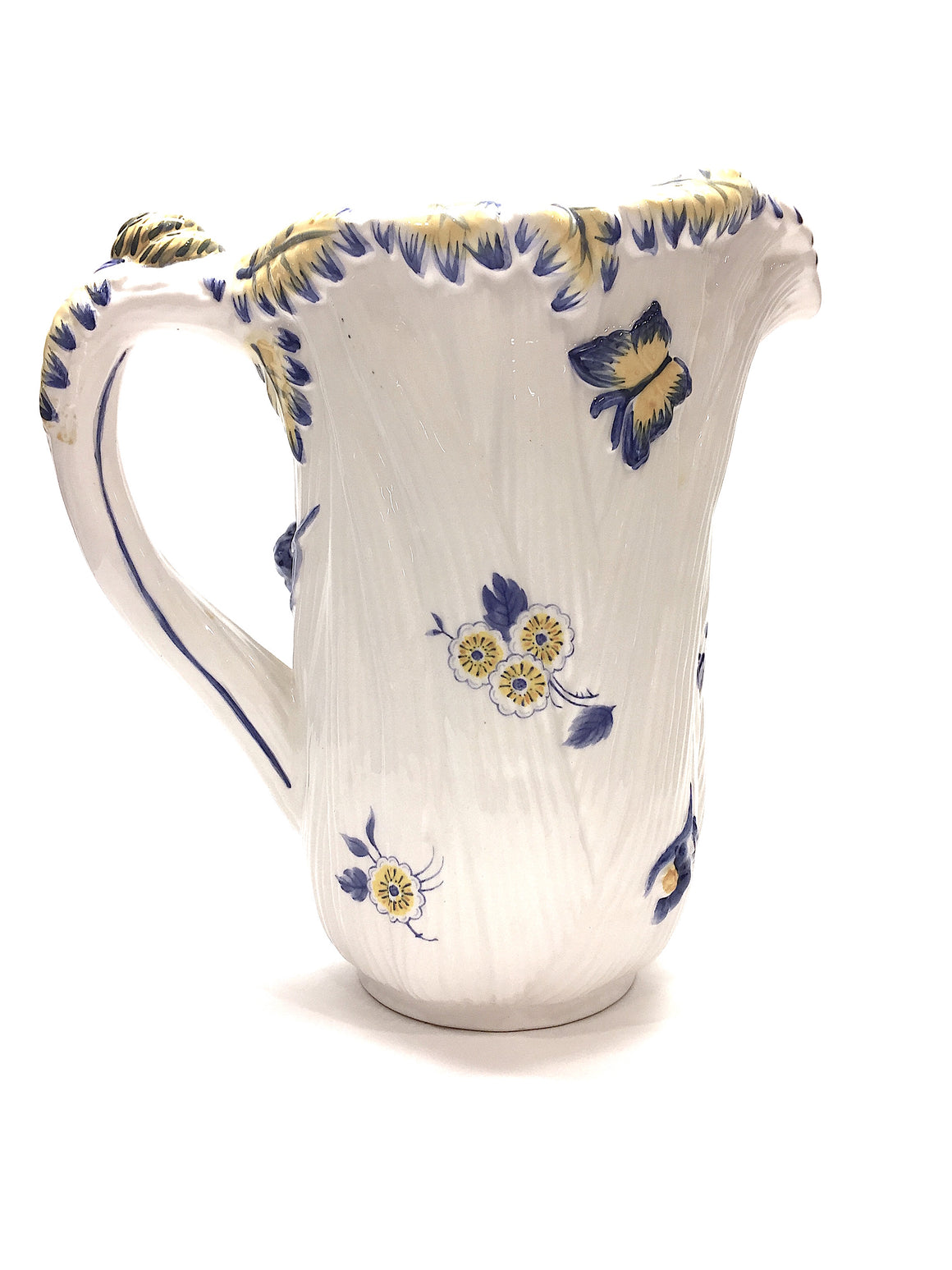 SPODE - IMPERIAL GARDEN White Yellow Royal-Blue Floral-Pattern Ceramic Pitcher