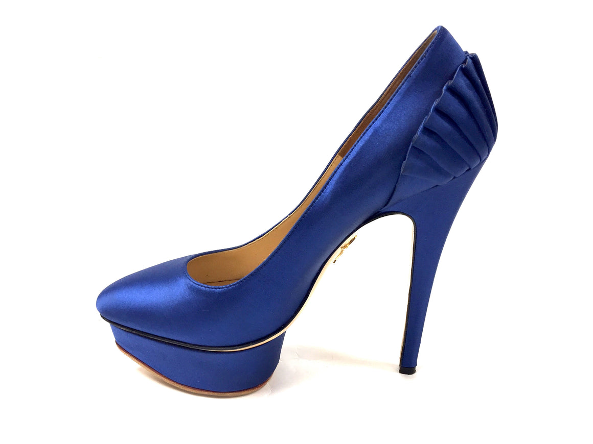 bisbiz.com CHARLOTTE OLYMPIA Royal-Blue Silk Stiletto Heel Platform Pumps Size: 37.5 / 7.5 - Bis Luxury Resale