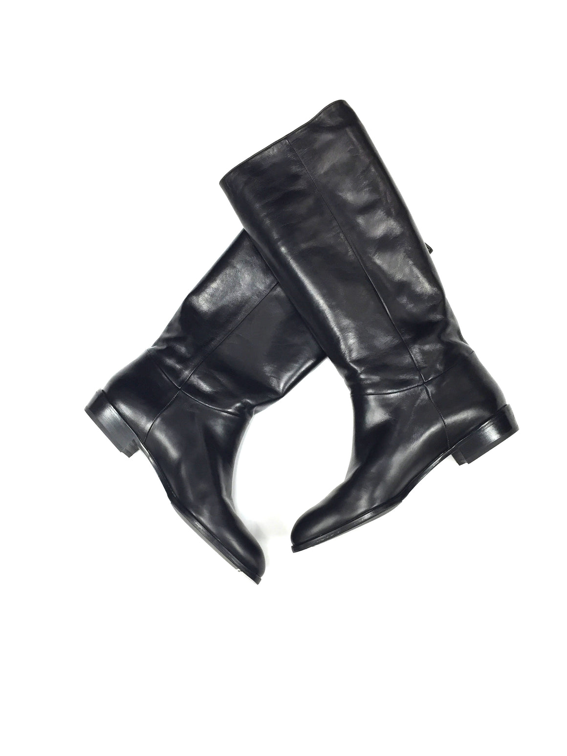 RIZZOLI Black Leather Pull-On Knee-Hi Flat Riding Boots Size: 40.5 / 10.5