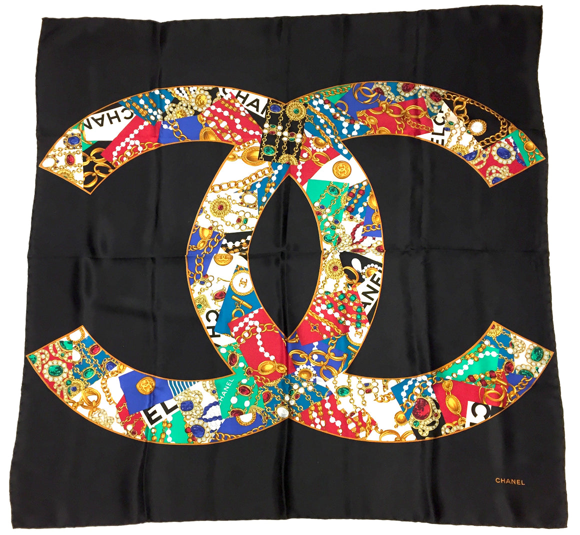 bisbiz.com CHANEL Vintage Black/Multi-Color Jeweled CC Logo-Print Silk Scarf - Bis Luxury Resale