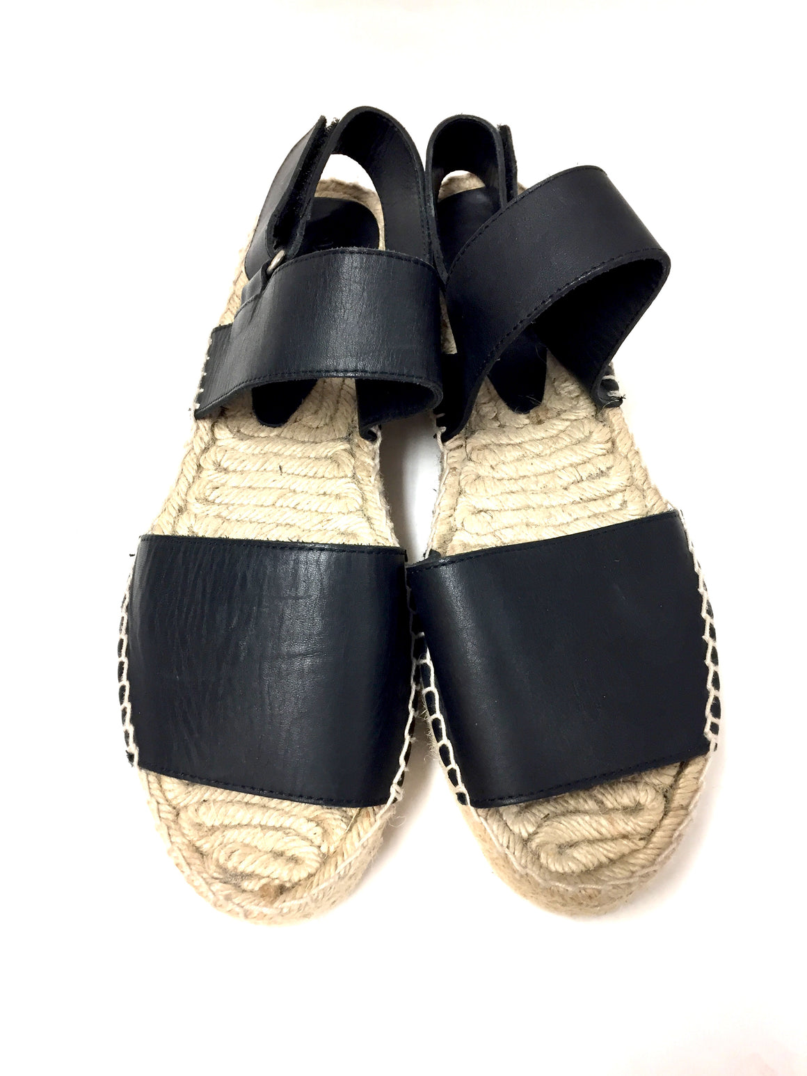 VINCE Black Leather Braided Rope Platform Flat Espadrille  Slingback Sandals Shoes  Size: 10M