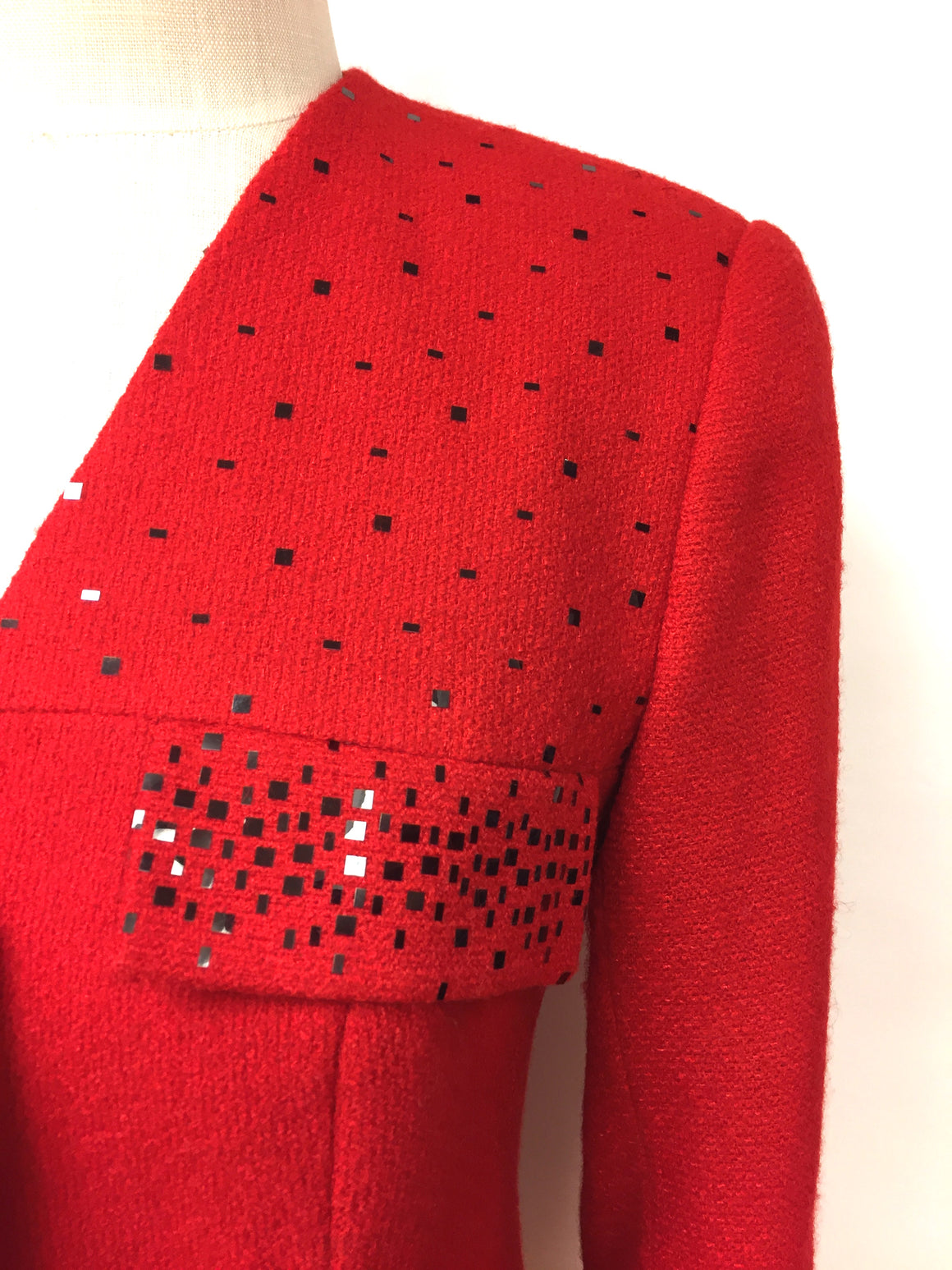 KOOS VANDEN AKKER Couture Vintage  Red Wool Black Sequined Accents V-Neck Jacket  Size: Small