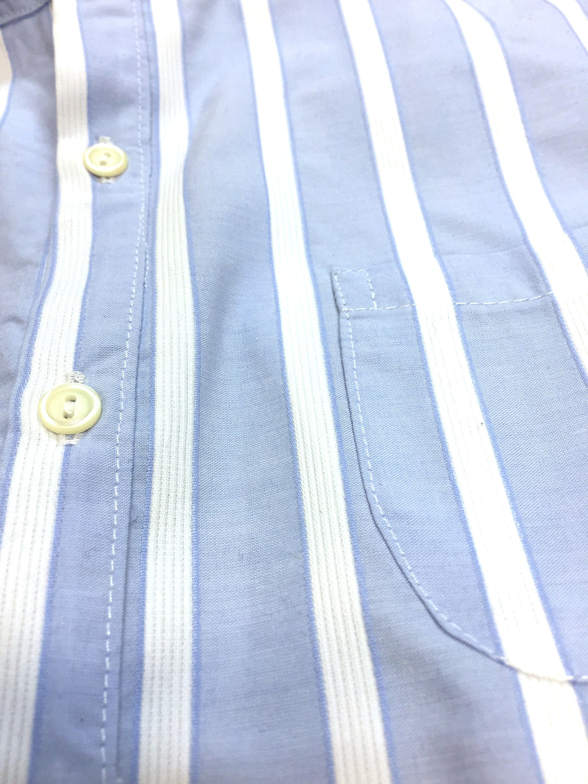 bisbiz.com AMAIA Powder Blue/White Striped Boys' Shirt w/Mandarin Collar & Cuffs - Bis Luxury Resale