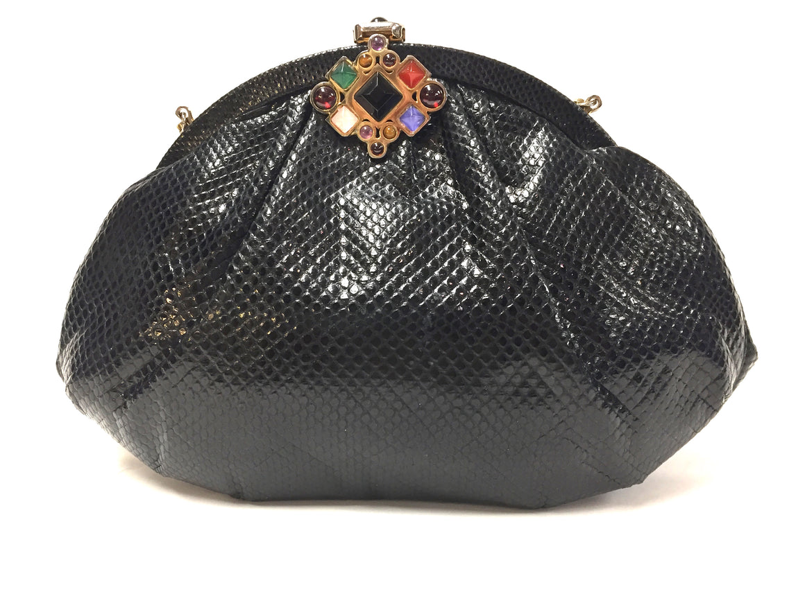 JUDITH LEIBER   Vintage Black Karung Snake Jeweled Clasp Evening Bag