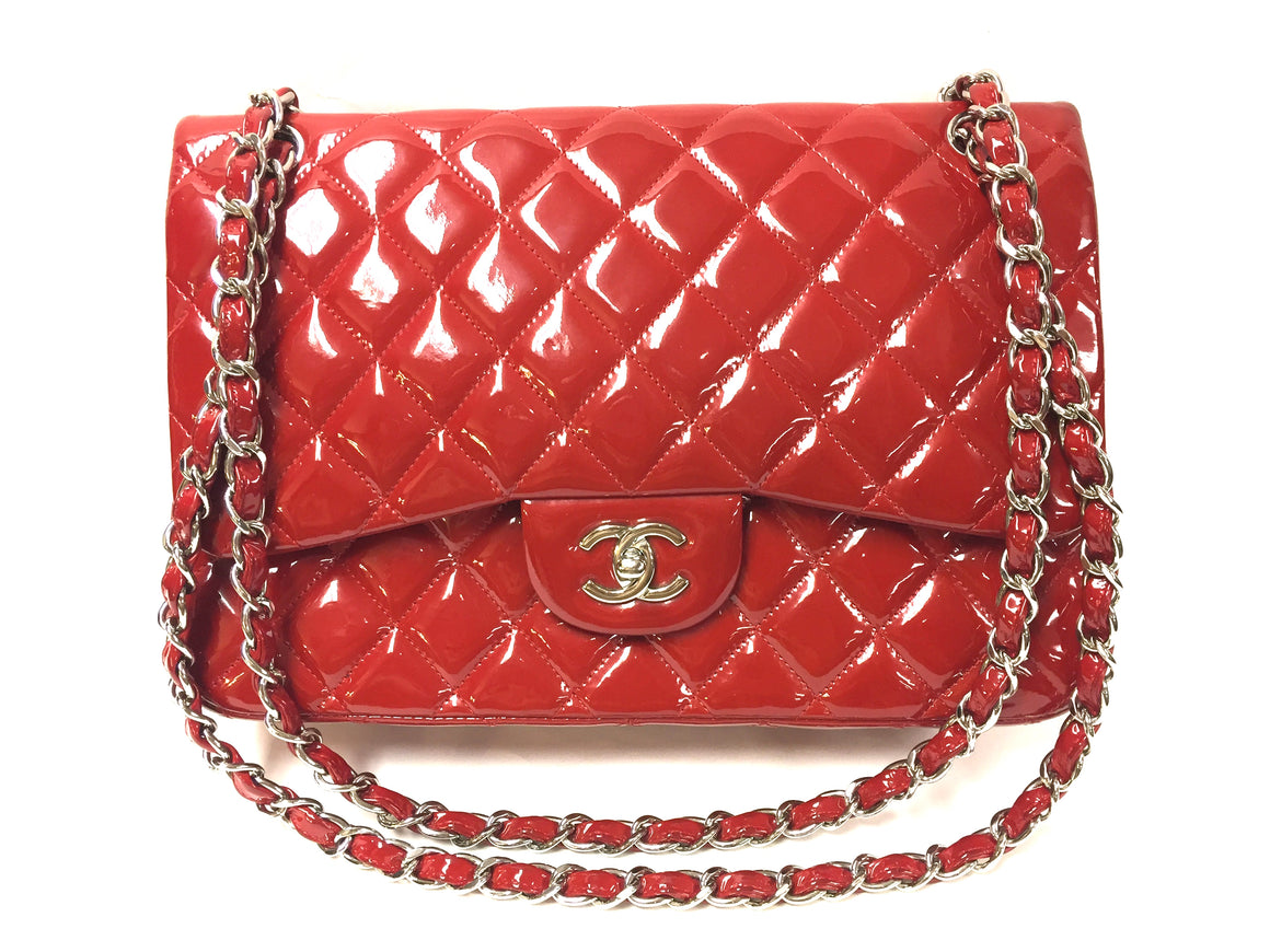 bisbiz.com CHANEL Red Diamond-Quilted Patent Leather Silver-Tone Chain  Classic Jumbo Shoulder Hand Bag - Bis Luxury Resale