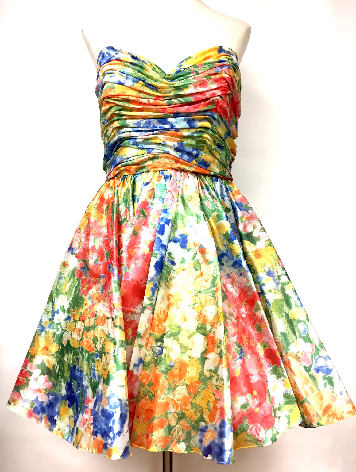 JENNY PACKHAM Multicolor Floral-Print Fit & Flare Strapless Dress Size: Small