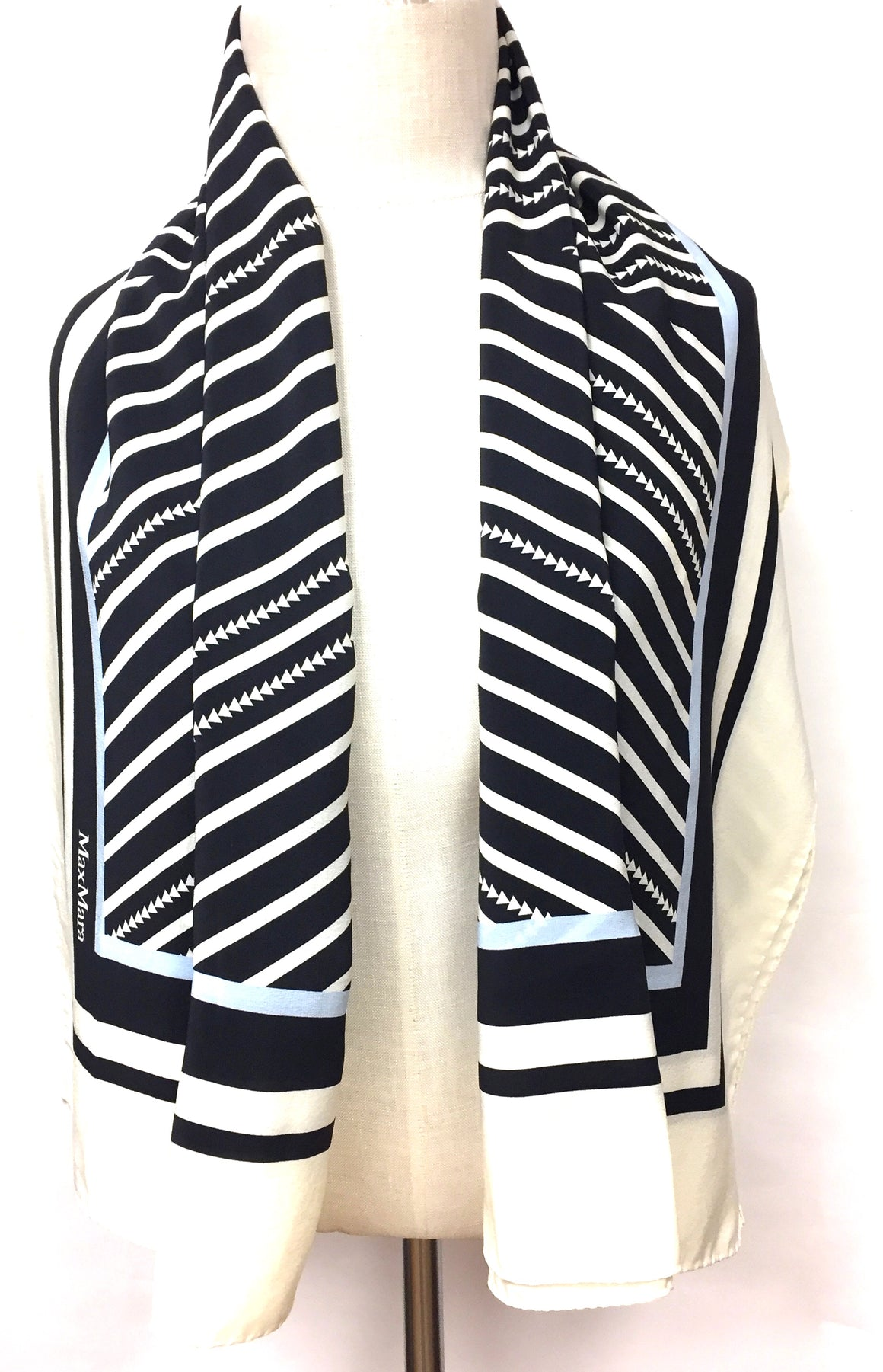 MAX MARA Black Ivory Multi-Color Geometric Striped Silk Shawl/Wrap