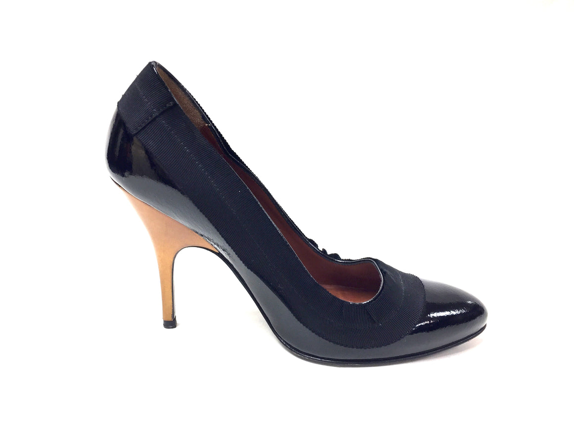 LANVIN Winter 2008  Black Patent Leather Metallic Bronze Hi-Heel Classic Pumps Size: 35.5 / 5.5