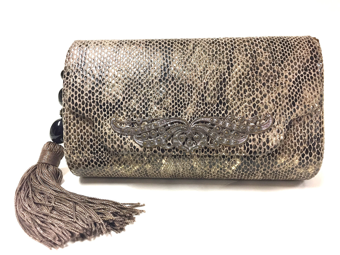 bisbiz.com GEOFFREY BEENE by RAFAEL SANCHEZ Vintage  Taupe Black Gold Reptile-Print Suede Evening Bag - Bis Luxury Resale