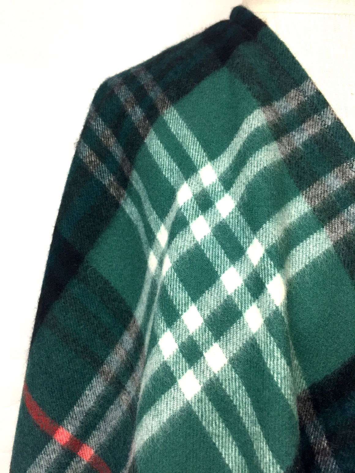THE SCOTCH HOUSE Green Black Red White Plaid Wool Fringed Shawl Wrap