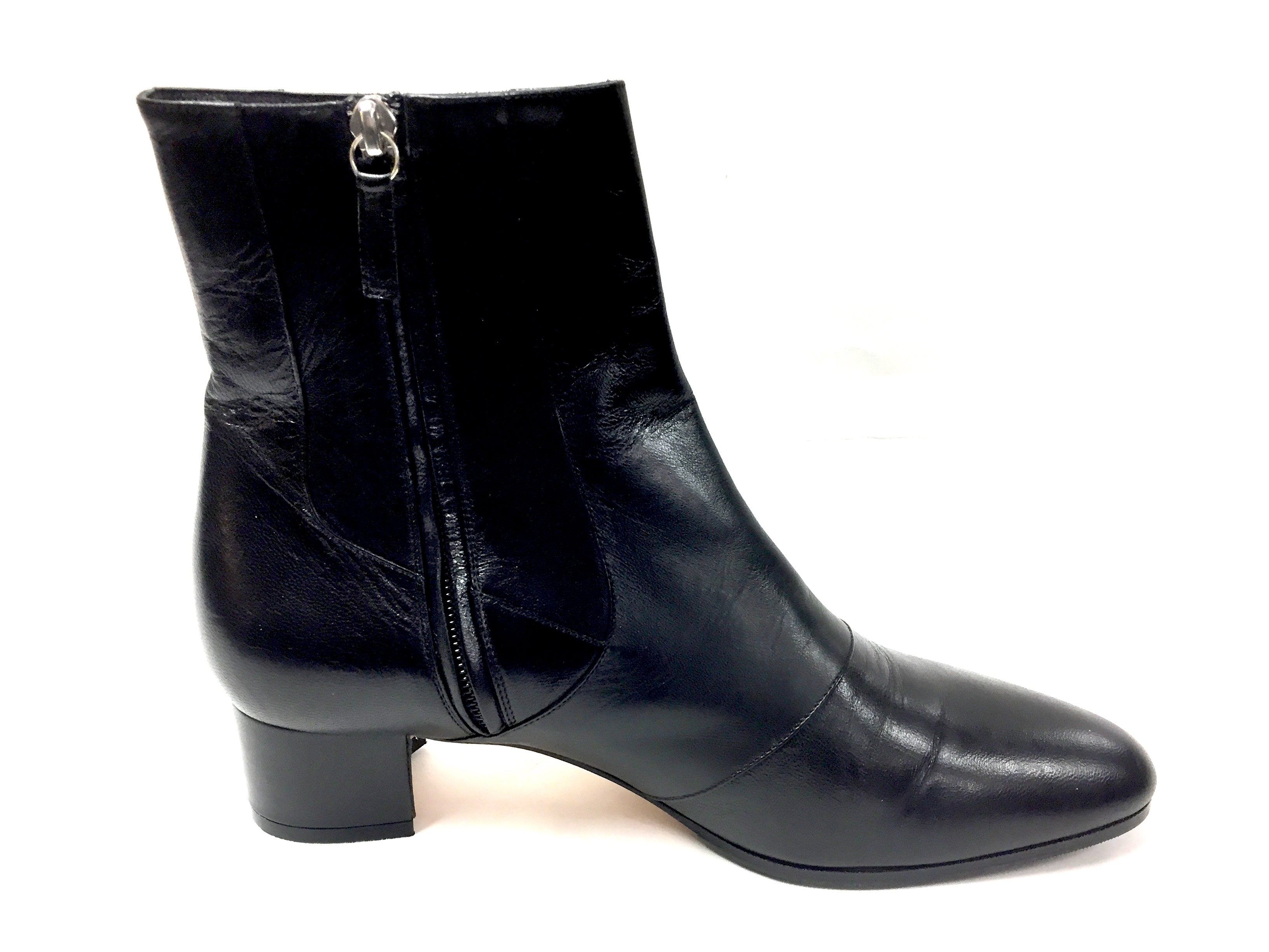 3280eceb74a MANOLO BLAHNIK Black Leather Low Heel Ankle Boots Booties Size  9.5M