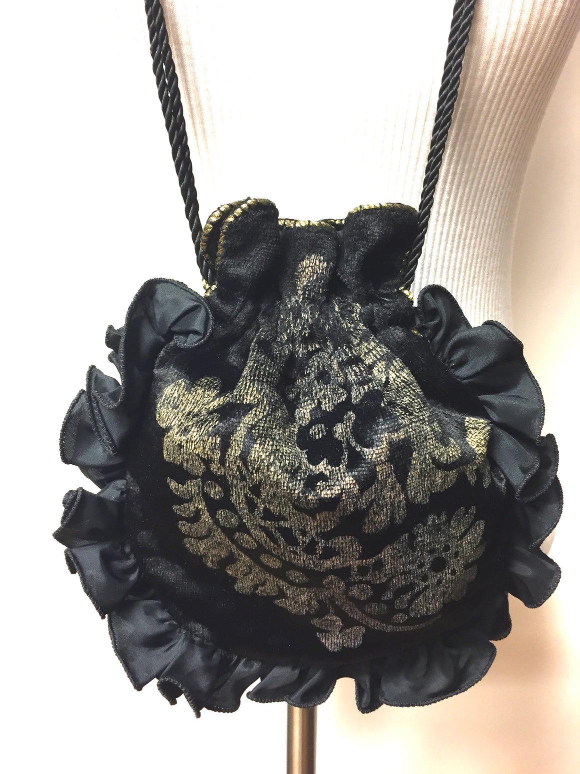 bisbiz.com FENDI By TIRELLI & GALLENGA Vintage Gold Stenciled Black Velvet Drawstring Evening Purse/Bag - Bis Luxury Resale