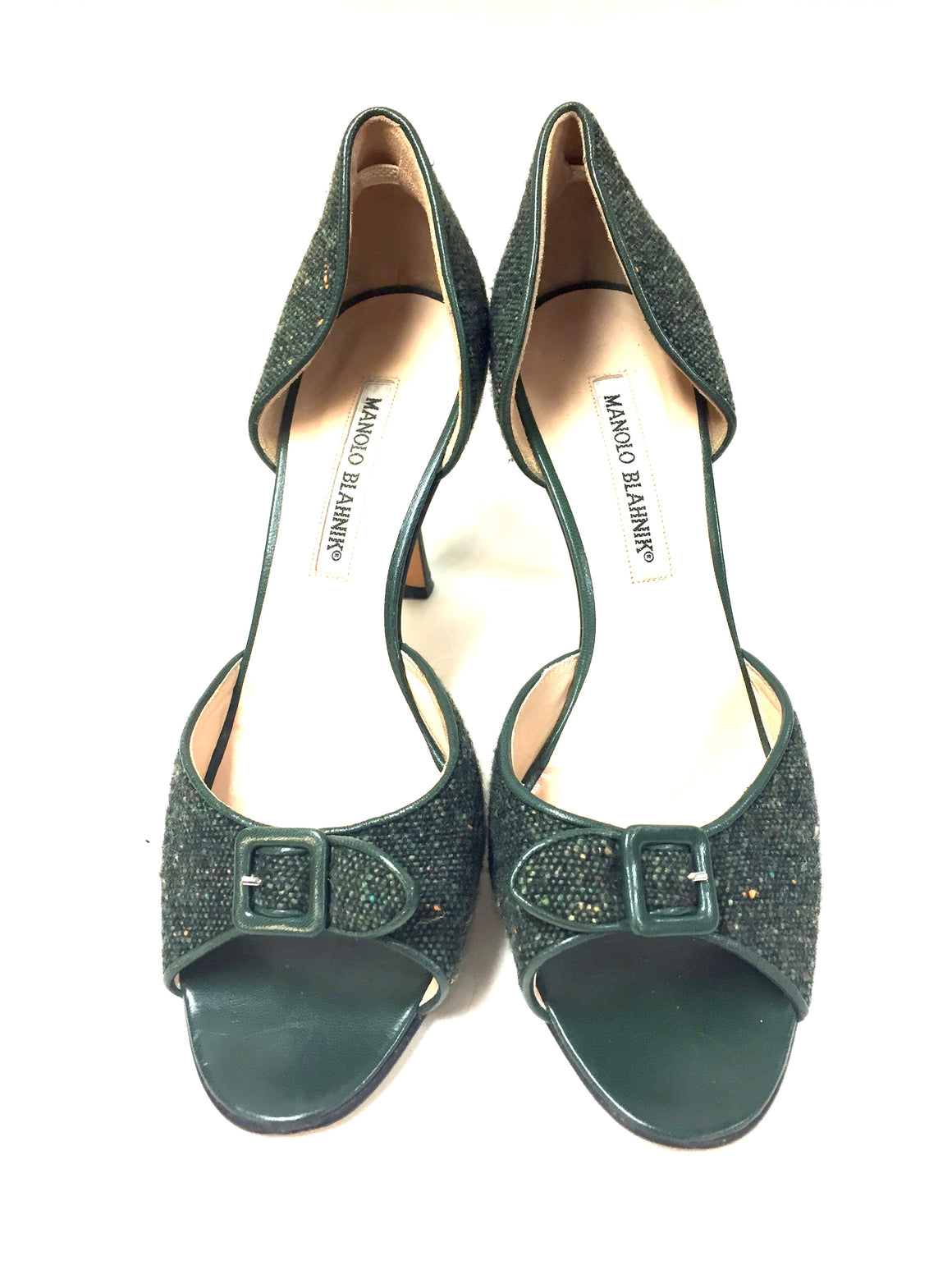 MANOLO BLAHNIK Green Tweed Open-Toe D'Orsay Hi-Heel Pumps  Size: 39 / 9