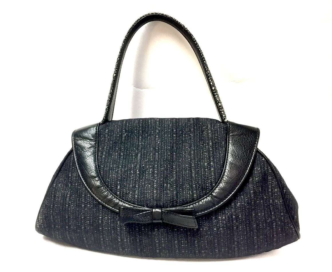 MARNI  Black & Gray Tweed Fabric Bag  with Black Leather Trim & Bow
