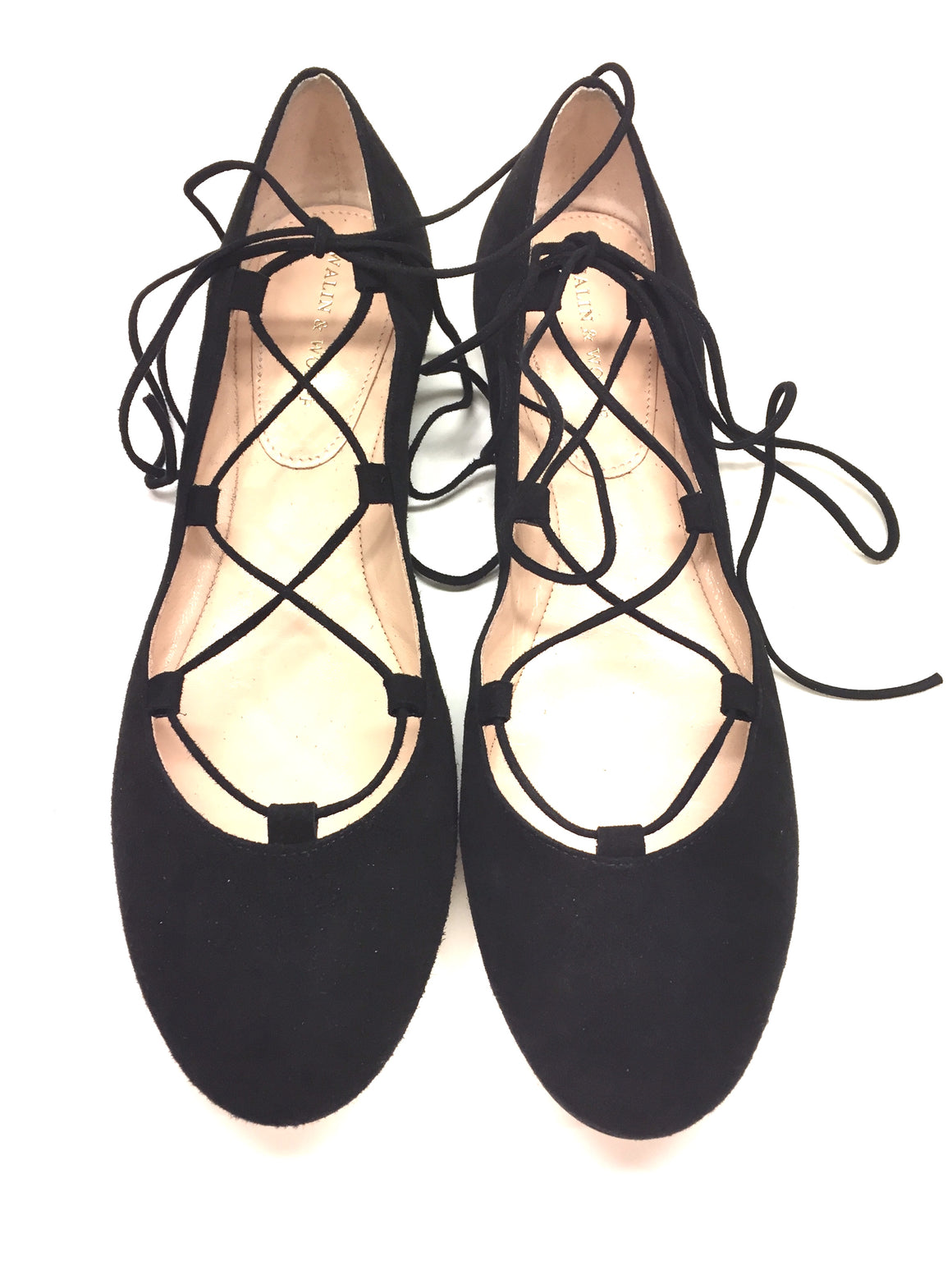 New WALIN & WOLFF Black Suede Lace-Up Ankle Straps Ballet Flats Sz39.5