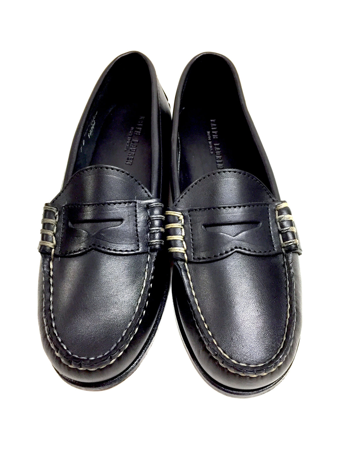 "bisbiz.com RALPH LAUREN  Black Leather Boys/Men ""EDRIC"" Classic Penny Loafer Shoes  Size: 7D - Bis Luxury Resale"