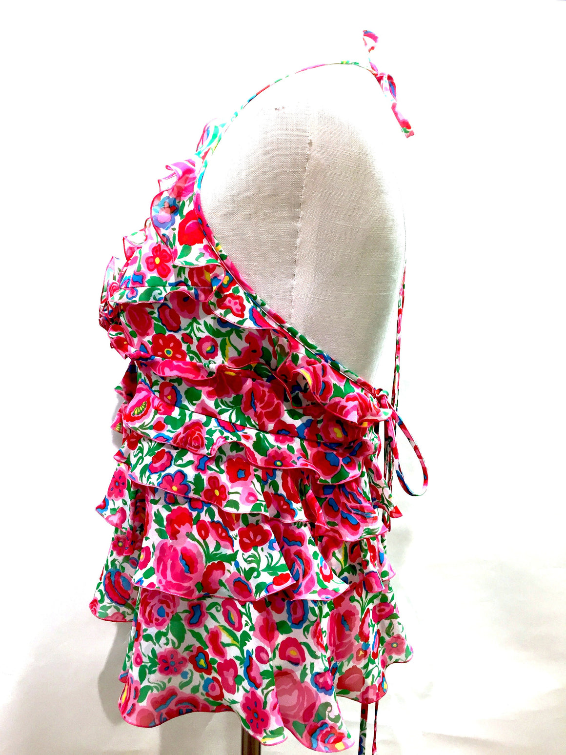 bisbiz.com ANDREW GN Fuchsia/Multicolor Floral-Print Silk Tiered Ruffles Cropped Halter Blouse Top  Size: S - Bis Luxury Resale