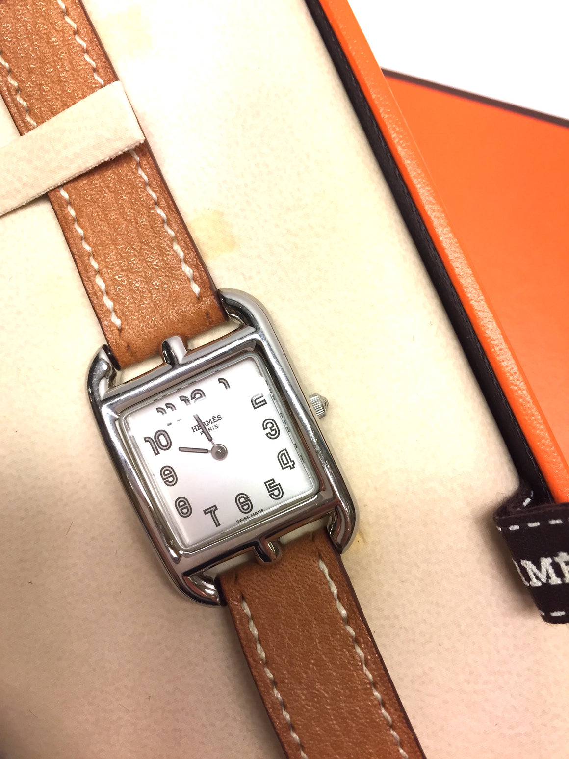New HERMES CAPE COD Stainless Steel Watch w/Double Tan Wraparound Leather Strap