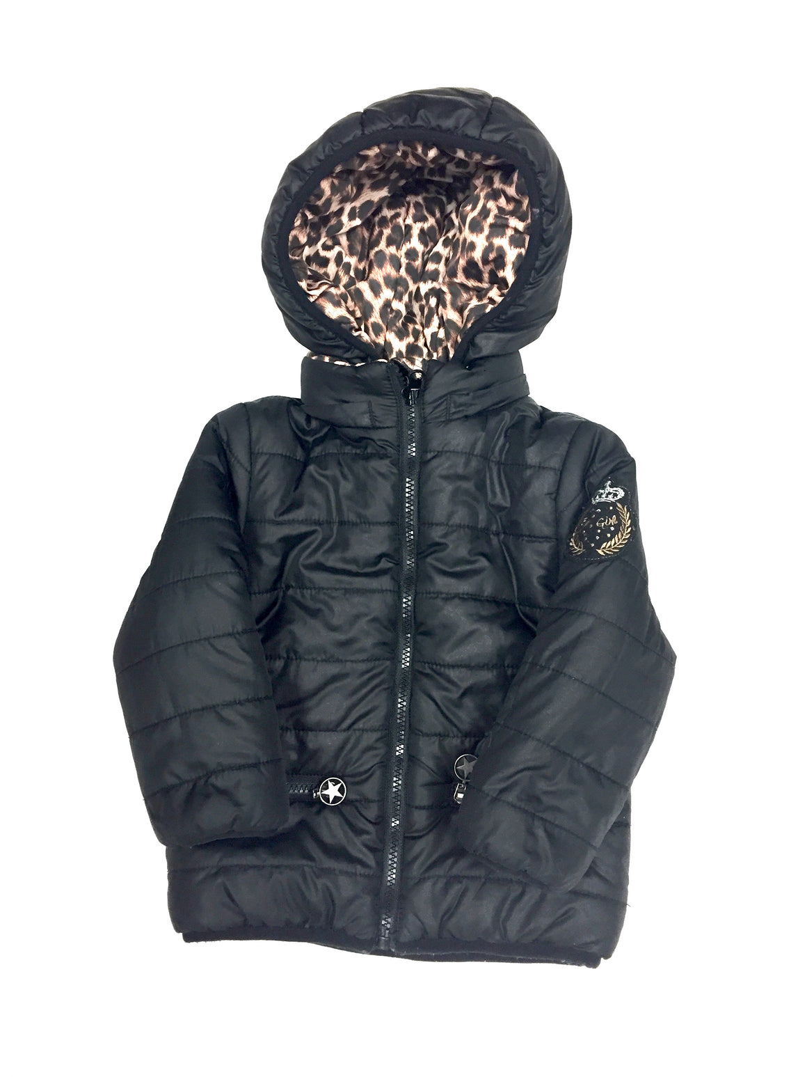 bisbiz.com 3POMMES Black/Brown Animal-Print Poly-Quilted Boy's Reversible Puffy Coat Size:  3 Years - Bis Luxury Resale