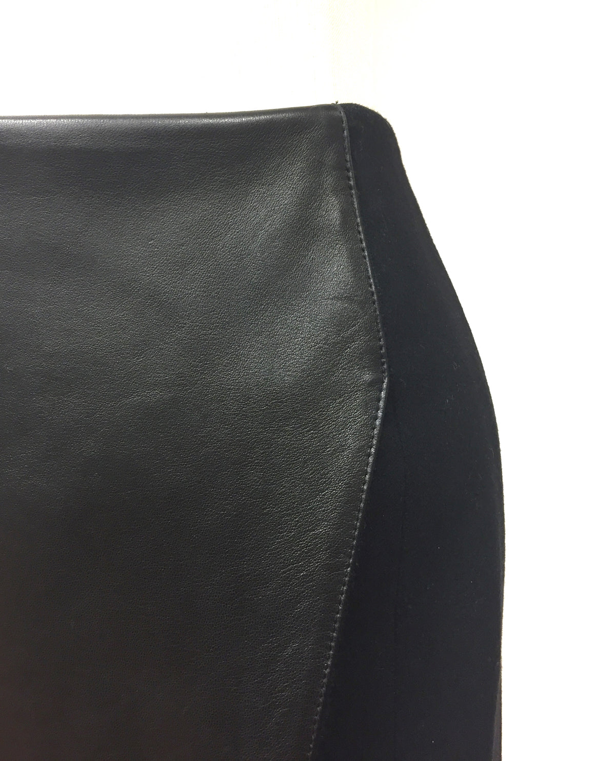 NEIL BARRETT  Black Leather Blend & Leather Wrap-Style Straight Skirt  Size: IT 40 / US6