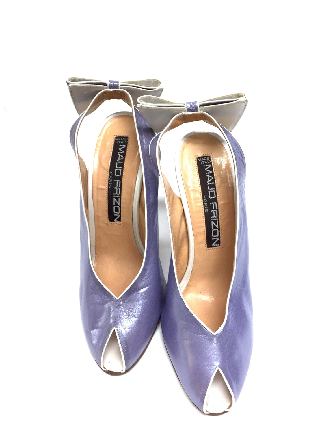 bisbiz.com MAUD FRIZON  Pearlized Lavender Peep-Toe Bow Slingback Pumps Size: 37.5 / 7.5 - Bis Luxury Resale