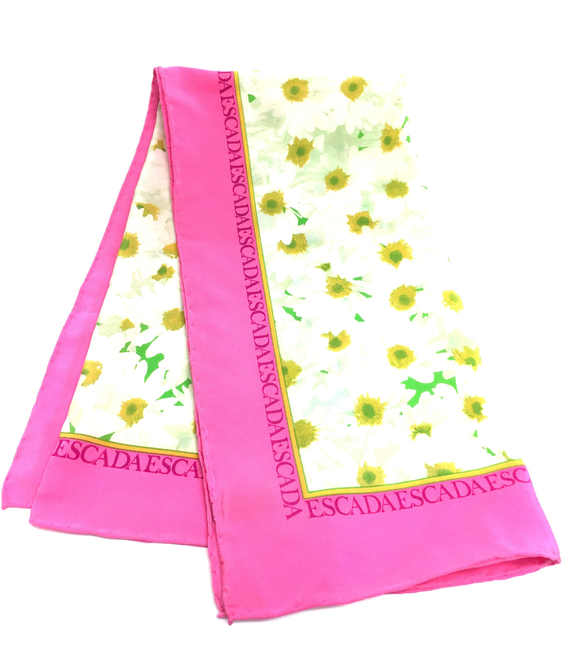 bisbiz.com ESCADA  White/Multicolor Daisy-Print Pink Logo Border Silk Scarf - Bis Luxury Resale