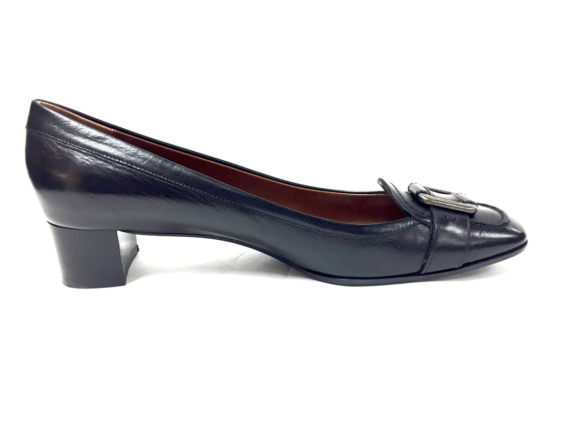 SALVATORE FERRAGAMO Black Leather Gunmetal Buckle Low-Heel Pumps Shoes Size: 11M
