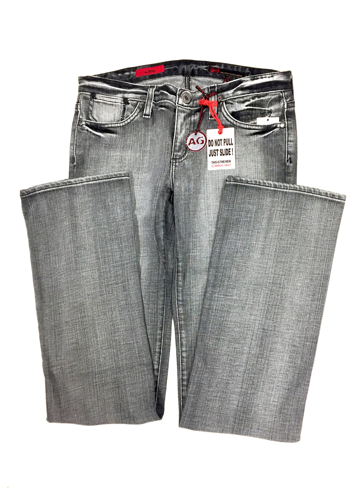 "bisbiz.com ADRIANO GOLDSCHMIED New with Tags Gray Distressed Cotton-Lycra Straight-Leg ""THE KISS"" Jeans Size: 27R - Bis Luxury Resale"
