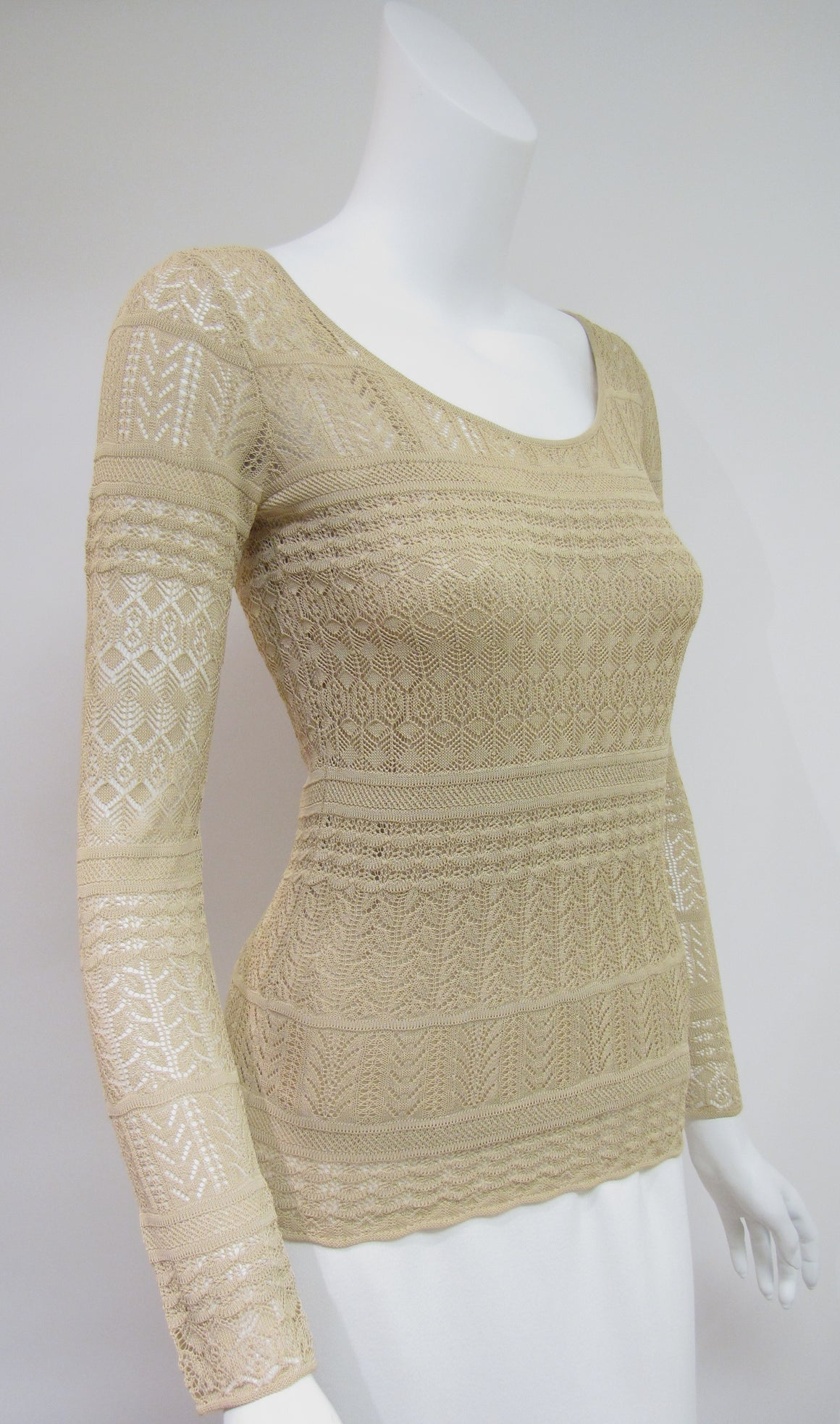 RALPH LAUREN - Black Label Beige Lacy-Knit Viscose Top & Silk Camisole Set Size: Small