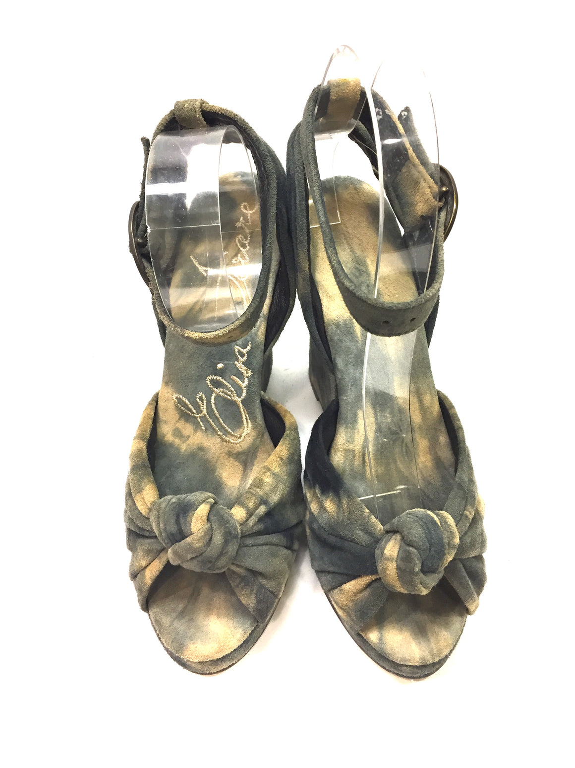ELISA FERARE Gray/Taupe Tie-Dyed Suede Wedge AHeel Ankle-Strap Sandals Sz6