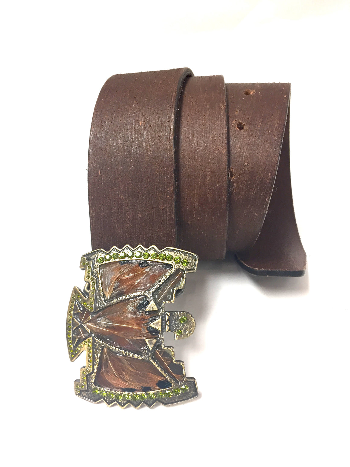 JUST CAVALLI Brown Distressed Leather Bronze Jeweled Buckle Waist Belt Size: 90 / L