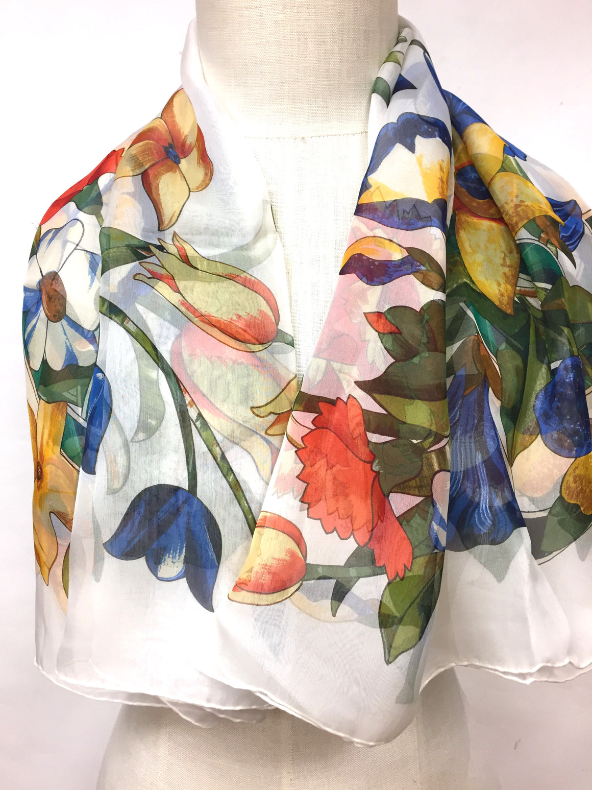 bisbiz.com CHANEL Vintage - New White/Multi-Color Floral & CC Logo-Print Silk Gauze Scarf / Shawl - Bis Luxury Resale