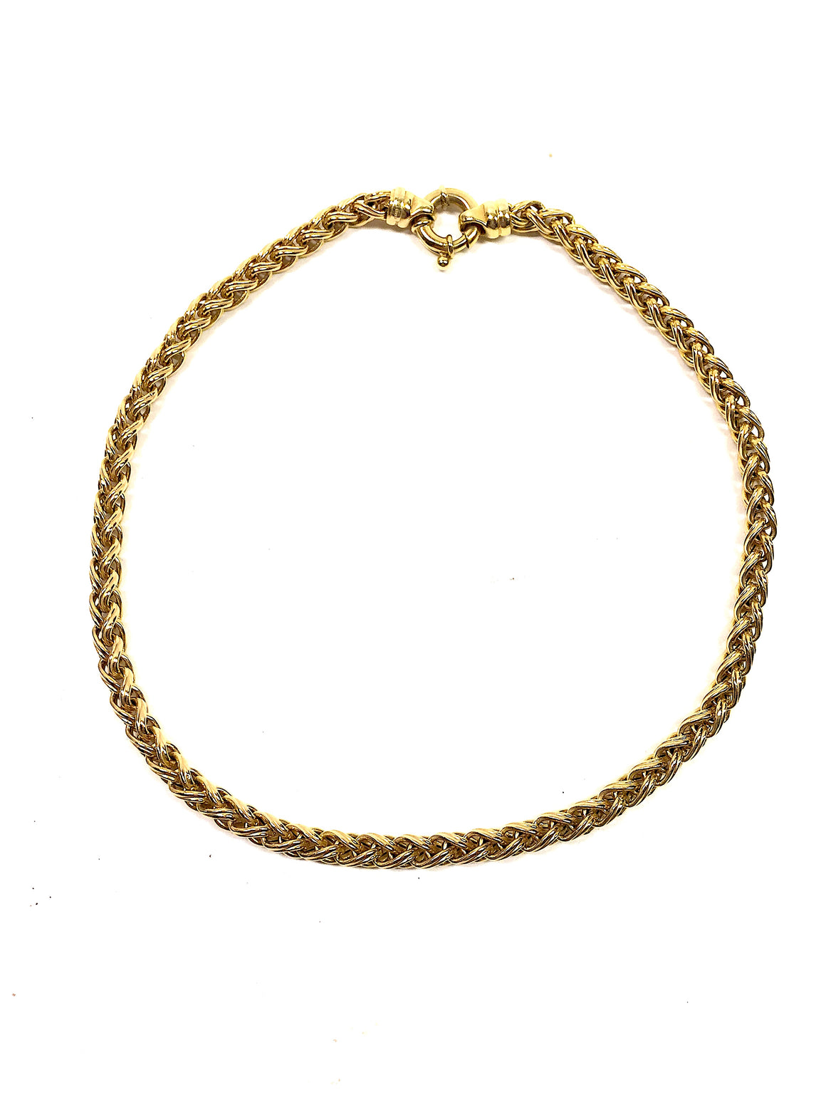 14K YELLOW GOLD WHEAT CHAIN LINK NECKLACE